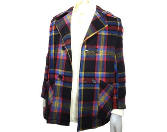 70 's woolen checked jacket for man (unisex) Double breasted size M