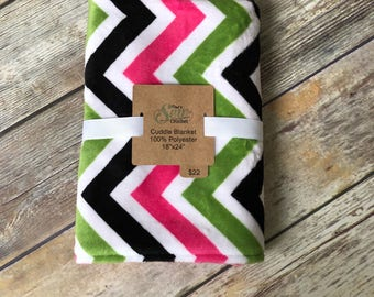 Pink Green and Black Chevron Minky Cuddle Blanket