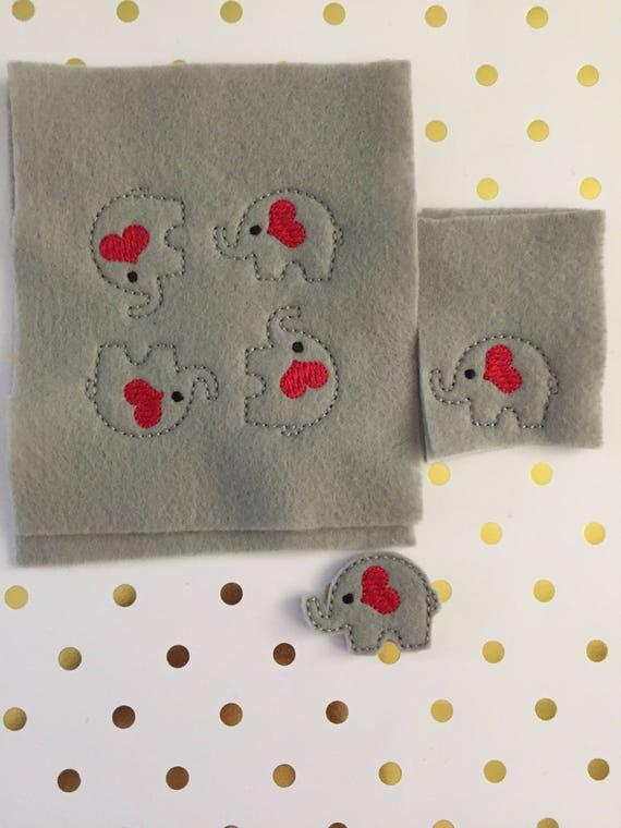 Set of 6 elephant Felties/Felt Embellishments/Planner Supplies/Planner Feltie/Wholesale Felties/Bow Embellishments/Elephant Felties