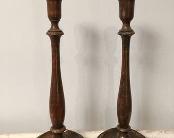 Vintage wood  candlestick holders