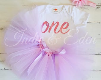 Pink Lilac Tutu 1st Birthday baby girls first headband babysuit birthday glitter personalised one set photo prop cake smash