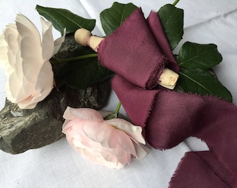 GRAPE hand dyed silk ribbon / crepe de chine / plant dyed / eco dyed / wedding ribbon / styling ribbon / photo prop / pure silk ribbon