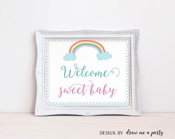 Rainbow Baby Shower , Welcome Baby Sign , Rainbow Baby Shower Decor , Girl Baby Shower Sign , Welcome Baby , Printable