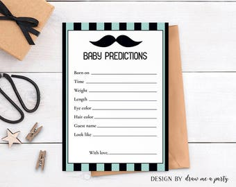 Little Man Baby Shower Predictions , Little Man Baby Shower Game , Baby Stats Game , Mustache Baby Shower Activity , Printable , DIY