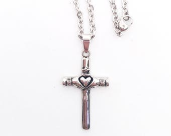 Claddagh Cross in Stainless Steel, Men's Stainless Claddagh Cross, Couples Claddagh Cross, Claddagh Cross Pendant, Stainless Sterl Jewelry