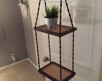 Vintage Wood, bead and Rattan Plant Hanger Shelf, Suspended with wood beads boho style plant hanger