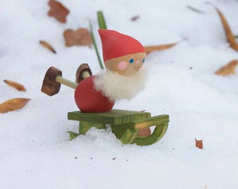 Vintage Swedish Elf - Wooden Gnome Tomte figurine with sleigh -  - Mid century modern Christmas