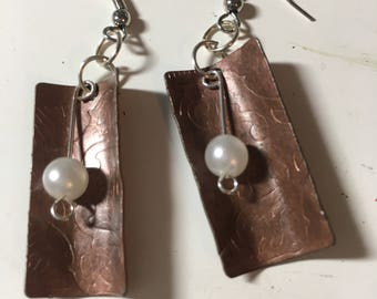 Copper and pearl earrings