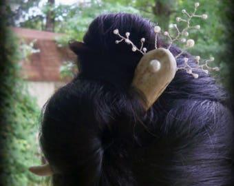 deer antler hair stick,antler hair fork,real deer antler,wire wrapped pearl antler hair stick