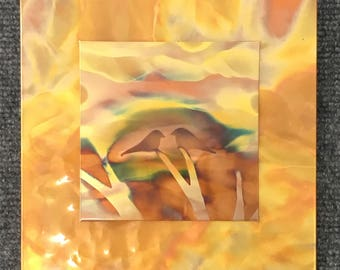 "Love birds on yellow, 7.5"" square double layer, Copper Fire Painting"