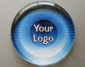 Custom Business Logo Paperweight, Your Logo Displayed in a Round Shaped Handcrafted Glass Paperweight, Personalized Gift for Business Owner