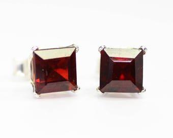 Garnet earrings;Mozambique garnet;Gemstone earrings;Stud earrings;Red earrings;Sterling silver earrings;Post earrings;January birthstone