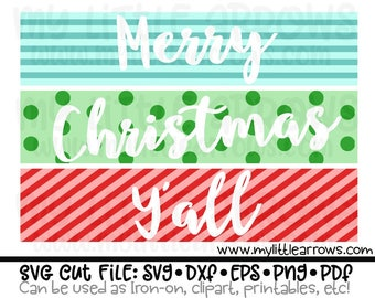 Merry Christmas Y'all SVG, Merry Christmas Y'all DXF, Christmas EPS, Christmas png Files, Cut files for Cutting Machines, Christmas svg