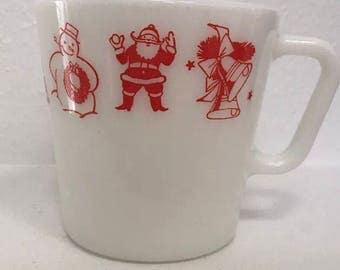 Sale Vintage Pyrex 1410 Merry Christmas mug red htf  on sale price lowered to 75.00