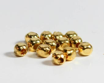 100pcs--Beads, Metal, Gold color, Square, 3mm (B67-1)