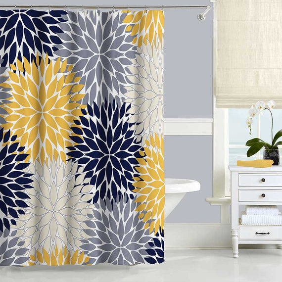navy blue and yellow shower curtain. Like this item  Navy Blue and Yellow Shower Curtain Floral