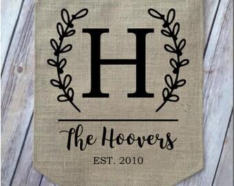 Personalized Burlap Garden Flag |  Blank Burlap Garden Flag | Last Name | Wedding Gift | House Warming Gift