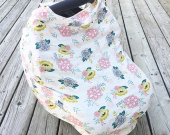 Floral Car Seat Cover //Nursing Cover //Grocery Cart Cover // Scarf // blue // mustard // peach // pink