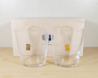 Japanese Engimono Glass by TOYO-SASAKI Glass, Platinum and Gold Manekineko, Tumbler cup Rocks cup Rock glass Whisky Ice cubes On the rocks