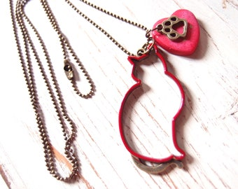 Cat and red heart pendant necklace-Jewellery for cats lovers-cat necklace-Pet lovers Gift