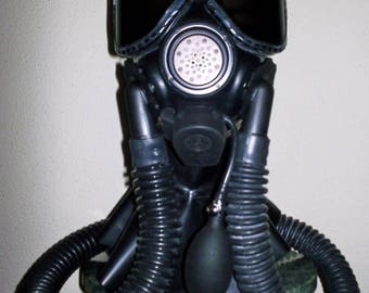 Fetish Heavy Rubber LATEX M40 Gas Mask HOOD w/ Tinted Lenses, Twin Hoses, Inflatable Mouth Gag and 3 Liter Rebreather Bag by FANTOMAS & Co.