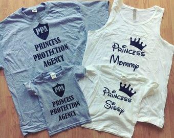 Custom Family Princess Protection Agency Shirts