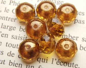 6 faceted beads, round Czech glass, 6x8mm amber finish gold R813