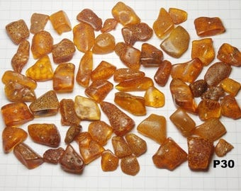 P30 / lot 20g amber beads natural honey color