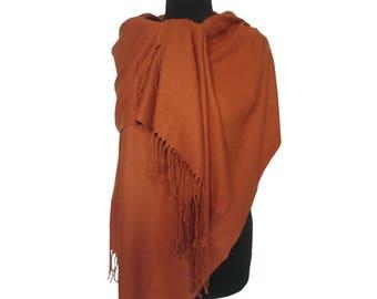 Orange Pashmina, Beautiful Scarf, Fall Scarf, Christmas Gifts for Women, Pashmina Scarf, Long Pashmina, Gift for Girlfriend, Plain Pashmina