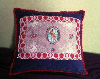 Deer print cushion, strawberry cotton and velvet