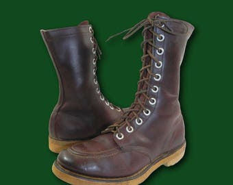Vintage 50s 60s Brown Leather Moc Toe Birdshooter Hunting Outdoor Boots Sz 9
