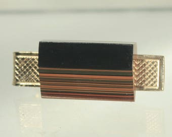 Modernist Tie Clasp, Layered Wood, Art Deco Tie Bar, Mid Century, Vintage Tie Clasp, Gold Tie Clasp