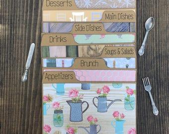 Recipe Dividers 3x5, 4x6, Floral, Mason Jar, Farmhouse, Shabby Chic