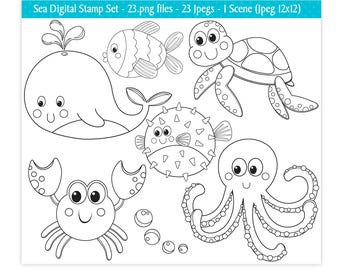 Sea Animals Digital Stamps,Under The Sea Stamps,Digital Stamps,Ocean Stamps,Sea Animals Clipart,Cute Sea Animals,Scrapbooking,Commercial Use
