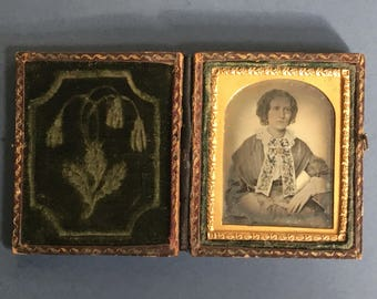 Cased Ambrotype of a Woman with the most Splendid Hand Painted Scarf