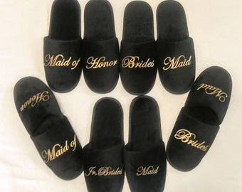 Bridesmaids  Gift - Quality Bridesmaid Slippers - Bridal Shower Gift  - Personalized Slippers - Black Slippers - white available
