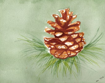 50 Percent Off Christmas Decor Through January 31, Watercolor Print, Handmade Greeting Cards, Blank Greeting Cards, Pinecone Print,