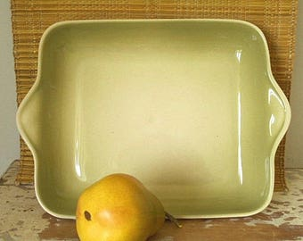 Vintage Ceramic Serving Dish - 60's - Avocado Glaze