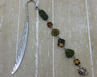 Bookmark brown/green teapot