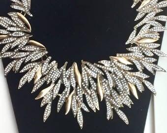 Vintage Oscar de la Renta Rhinestone Leaf Runway Necklace
