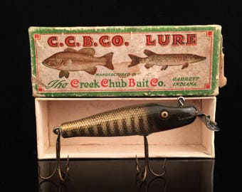 Antique Fishing Lure Vintage Fishing Lure Creek Chub Baby Pikie Minnow With Box In Box Fishing Tackle Wood Lure Fathers Day Gift For Him