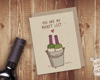Bucket List Wine Card; Soulmates, You're the One, Red Wine, Wine Lover, Romantic Card, Wine Glass, Valentine's Day, Anniversary