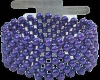 New Corsage Wristlet Bracelet in Purple, Purple Wristlet for Corsages