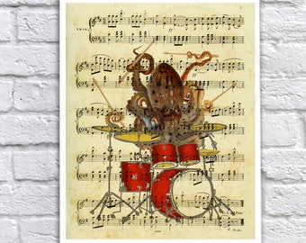 Drummer Decor Octopus playing drums with vintage sheet music page image background - Novelty Gift for drummer