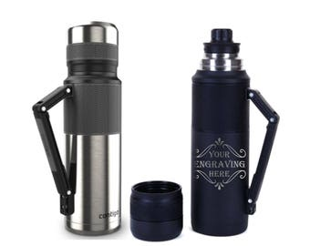 Personalized 40 oz. Thermos - Contigo Thermalock - Vacuum Insulated Stainless Steel - 100% Spill Proof - Personalized Gift, Laser Engraved