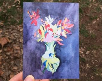 Greeting Card: Purple Blind Contour Bouquet