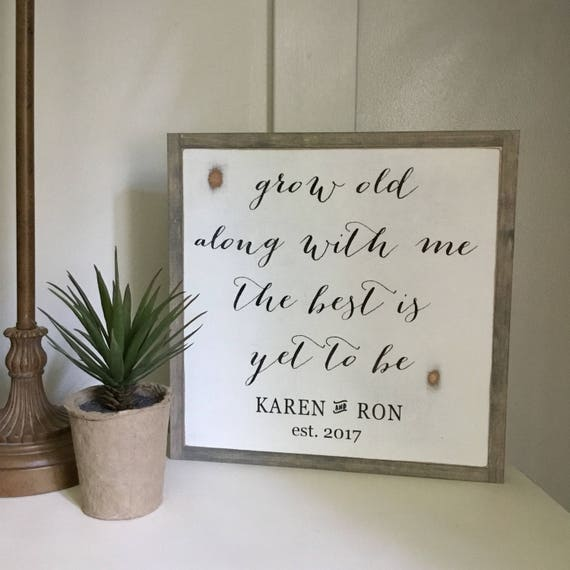 GROW old along with me 1'X1' wood distressed decor | painted wall art | rustic farmhouse wooden sign | shabby chic wedding anniversary gift