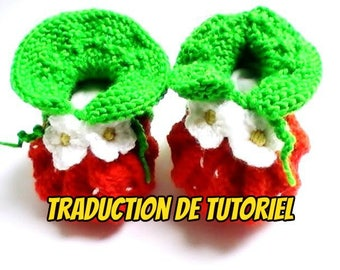 Translation of the baby booties tutorial strawberries