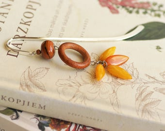 Book lover gift bookmark for books librarian gifts Ideas for book lovers bookworm for her bookmarks amber brown woodland metal unique mark
