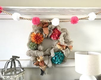 Pom Pom and Wood Bead Garland. Easter garland. Nursery decor. Nursery garland. Yarn Pom Pom. Wood beads garland. Fireplace Garland